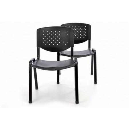 2 ks kovová židle s plastovým sedákem a opěrkou, černá
