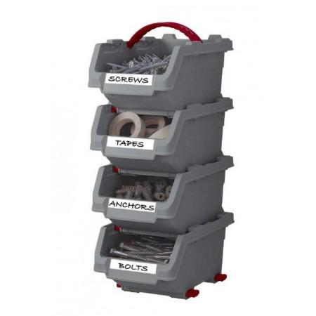 4 ks plastové úložné boxy do garáže, dílny- montáž na stěnu, vel. M