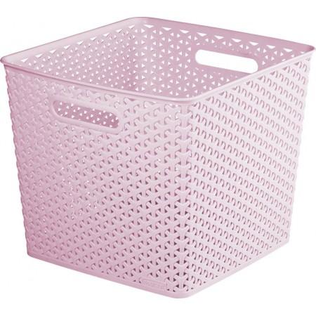 Ozdobný úložný plastový koš, s držadly, růžový, 32,5x32,5 cm
