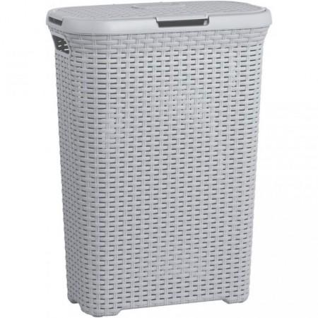 Vysoký prádelní koš s víkem 40 l, šedý plast