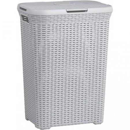 Vysoký prádelní koš s víkem 60 l, šedý plast