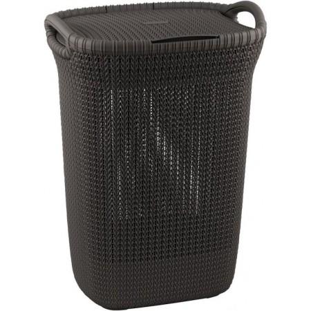 Ozdobný plastový koš na prádlo, motiv háčkování, 57 l, hnědý
