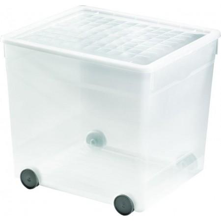 Velký úložný plastový box 33 l na kolečkách, transparentní