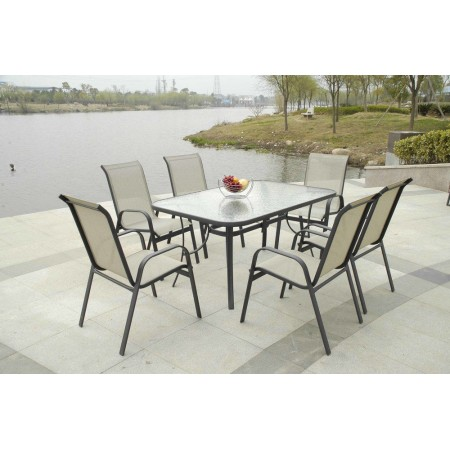 Elegantní zahradní stolek se skleněnou deskou, obdélníkový
