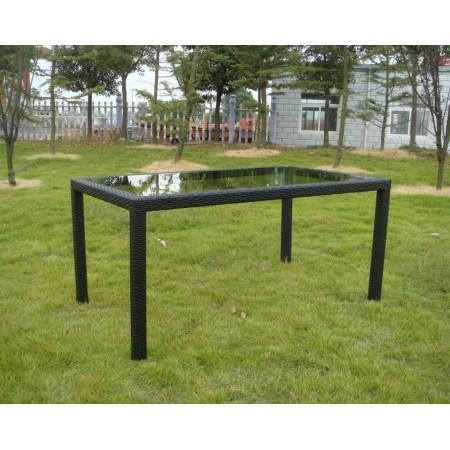 Venkovní obdélníkový stůl se skleněnou deskou, ratanový vzhled