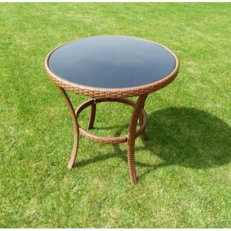 Menší kulatý stolek na zahradu, černé sklo, hnědý polyratan
