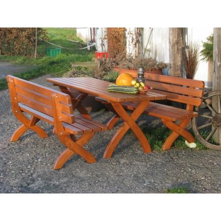 Masivní zahradní lavice z borovicového dřeva 160 cm, lakovaná