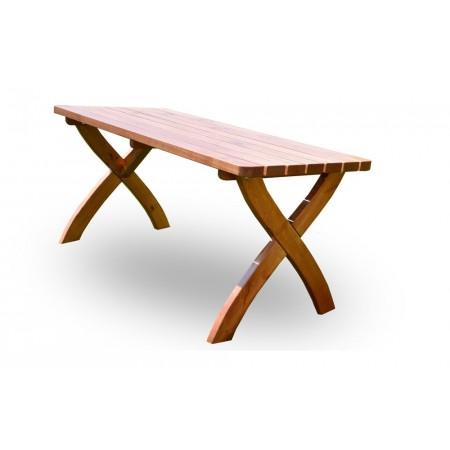 Masivní zahradní stůl z borovicového dřeva 160 cm, lakovaný