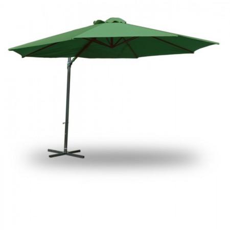 Velký zahradní slunečník s boční nohou, 3,5 m, zelený