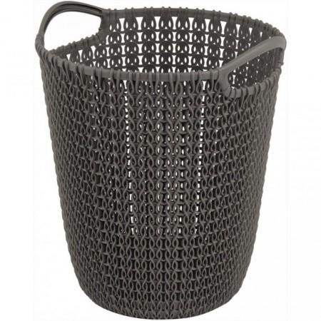 Designový odpadkový koš, háčkovaný vzor, hnědý