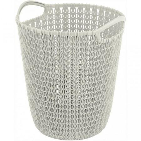 Designový odpadkový koš, háčkovaný vzor, krémový