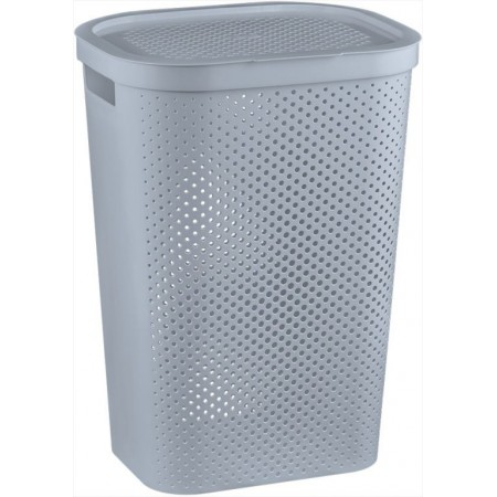Vysoký prádelní koš s otvory 59 l, šedý