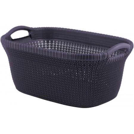 Designový plastový koš na prádlo, vzor háčkování, fialový