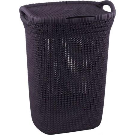Designový plastový koš na prádlo, vzor háčkování, vysoký, fialový
