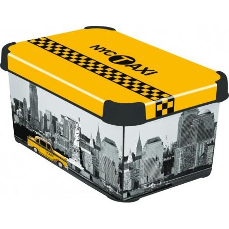 Dekorativní plastový úložný box s víkem- New York, vel. S