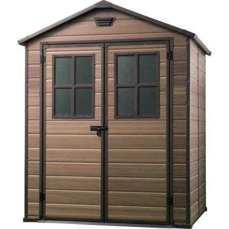Plastový zahradní domek, dvoukřídlé dveře, hnědý