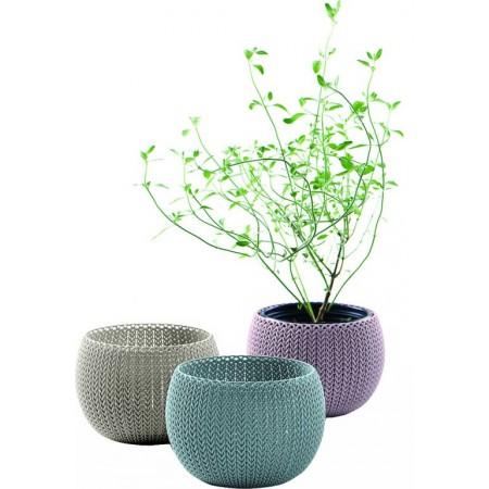 3 ks okrasný plastový květináč, háčkovaný vzor, mix barev