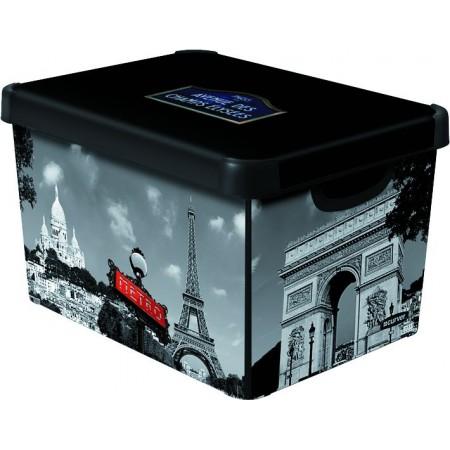 Designový úložný box s víkem, vel. L, potisk Paříž