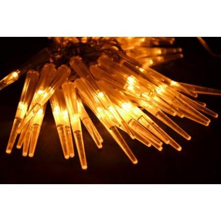 Svítící LED rampouchy venkovní / vnitřní, teple bílá, 60  LED