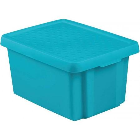 Plastová úložná bedna s víkem 16 l, modrá