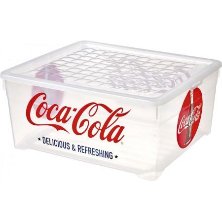 Ozdobná plastová bedna s víkem 10 l, Coca Cola