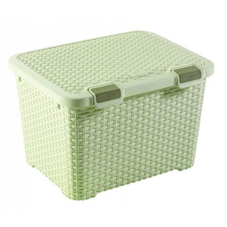 Plastový box pro uložení věcí, výklopné víko, 43 l, krémový