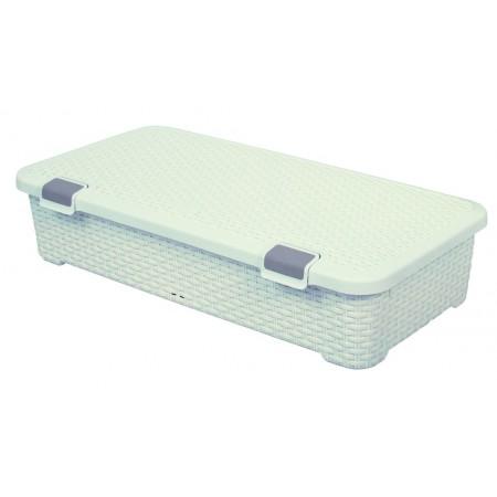 Nízký úložný plasový box 42 l s kolečky, imitace ratanu, krémový