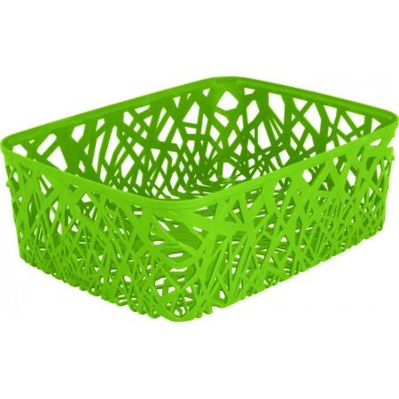 Dekorativní plastový košík na stůl A4, zelený