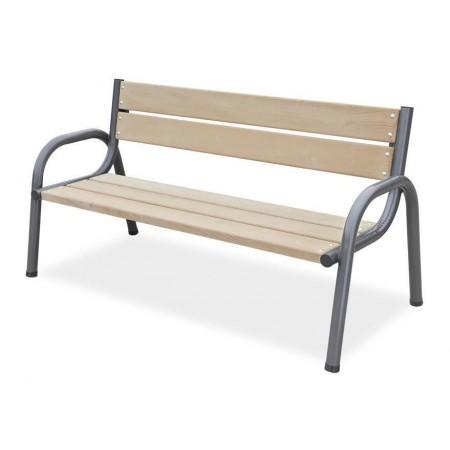 Masivní zahradní / parková lavice 170 cm, kov / dřevo