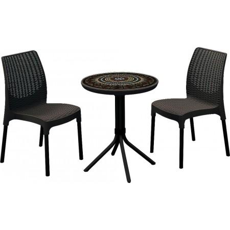 Sestava balkonového nábytku, stůl + křesla, tmavě hnědá