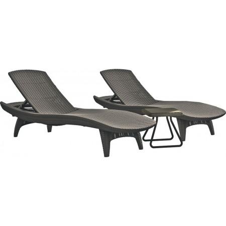 Sada 2 ratanových relaxačních lehátek k bazénu + stolek, cappuccino