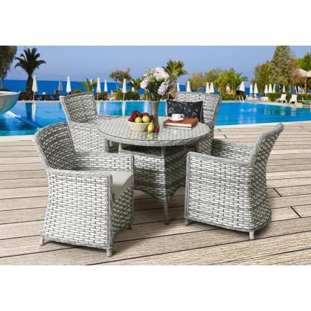 Luxusní sestava nábytku s kulatým stolkem, šedá / krémová