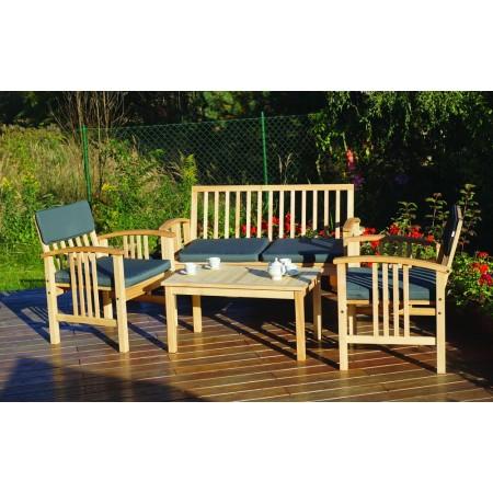 Dřevěná sestava zahradního nábytku, vč. polstrů