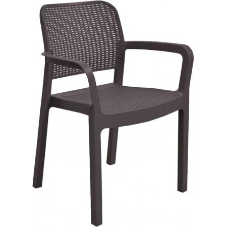 Moderní plastová zahradní židle, prodyšné opěradlo, hnědá