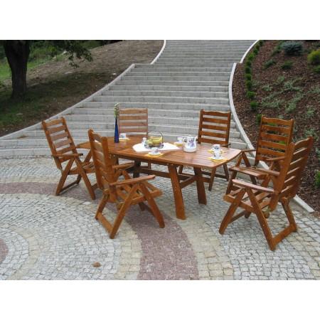 Rozložitelný dřevěný venkovní stůl z masivu, 150-210cm