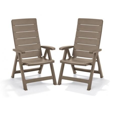 2 ks elegantní zahradní plastová židle, nastavitelná opěrka, cappuccino