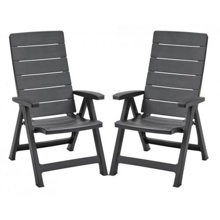 2 ks elegantní zahradní plastová židle, nastavitelná opěrka, grafit