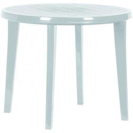 Plastový kulatý stůl, odnímatelné nohy, světle šedý