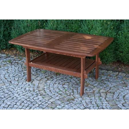 Dřevěný stůl z masivu, rozložitelný, tmavě hnědý
