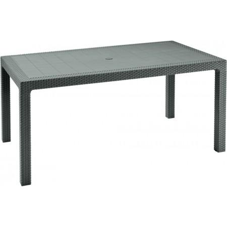 Plastový venkovní stůl 160 cm, ratanový vzhled, cappuccino