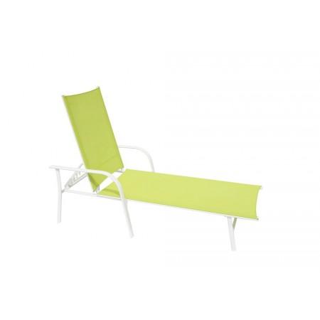 Nastavitené kovové zahradní lehátko, umělá textilie- zelená