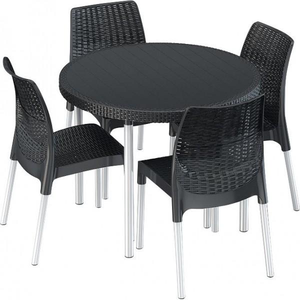 Venkovní nábytek 4 židle + kulatý stůl, antracit