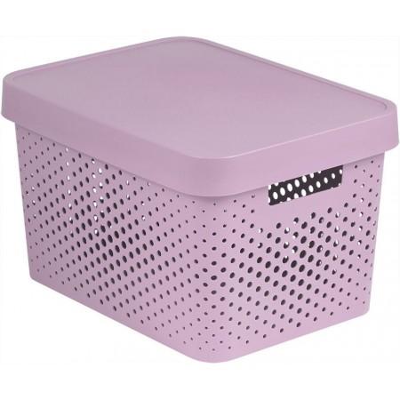 Plastový úložný box s víkem, větrací otvory, 17 l, růžový