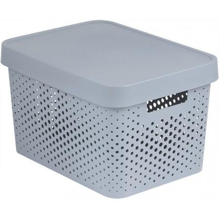 Plastový úložný box s víkem, větrací otvory, 17 l, bílý