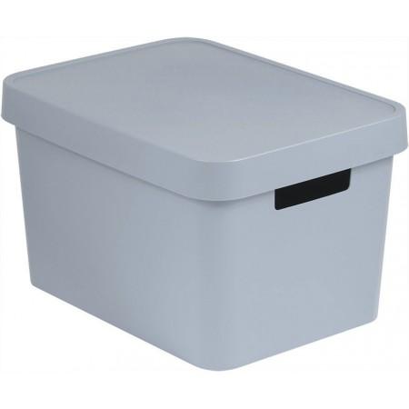 Plastový úložný box s víkem, větrací otvory, 17 l, šedý