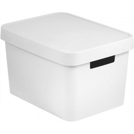 Plastový úložný box s víkem, bez otvorů, 17 l, bílý