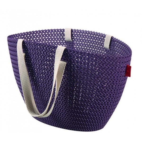 Plastová nákupní taška s textilními úchyty, fialová