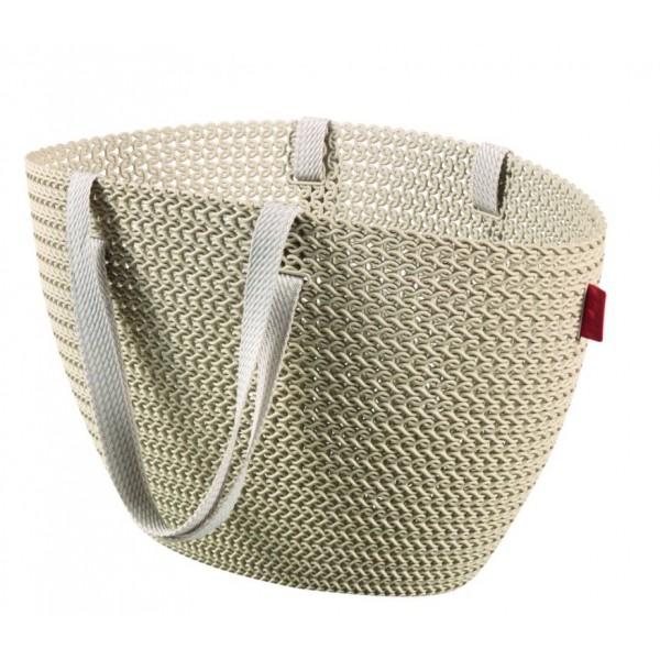 Plastová nákupní taška s textilními úchyty, krémová