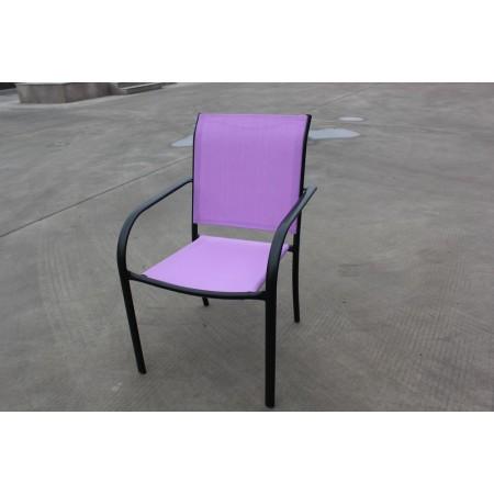 Pevná kovová zahradní židle, textilní polstrování, fialová