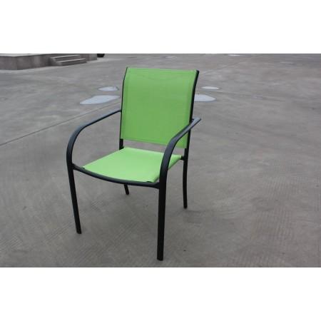 Pevná kovová zahradní židle, textilní polstrování, zelená
